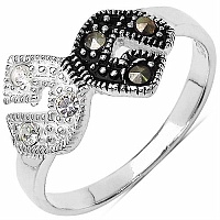 1.90 Grams Marcasite & White Cubic Zircon .925 Sterling Silver