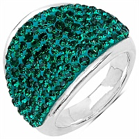 4.40 Grams Green Crystal .925 Sterling Silver Hollow Ring