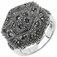 9.90 Grams Marcasite .925 Sterling Silver Ring