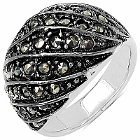 10.40 Grams Marcasite .925 Sterling Silver Ring