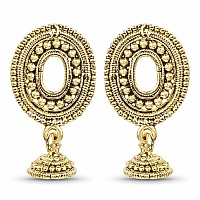 Gold Plated Oval Square Jhumki Earrings