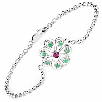 0.58CTW .925 Sterling Silver Emerald & Ruby Rakhi