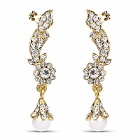 White Stone & White Synthetic Pearl Gold Plated Ear Cuffs