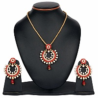 Red Stone & White Synthetic Pearl Gold Plated Pendant Set