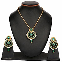 Green Stone & White Synthetic Pearl Gold Plated Pendant Set