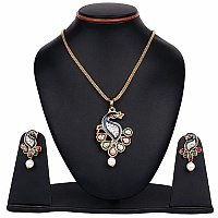 White Synthetic Pearl & White Stone Gold Plated Multicolor E