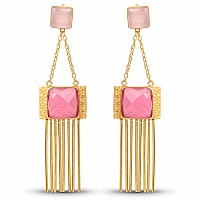 Gold Plated Fashion Dangle Earrings Adorned with Pink Stone