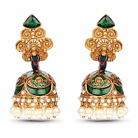Gold Plated Fashion Peacock Jhumki Earrings Adorned with Whi