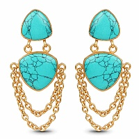 Gold Plated Fashion Dangle Earrings Adorned with Turquoise