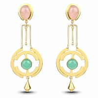 Gold Plated Fashion Dangle Earrings Adorned with Rose Quartz