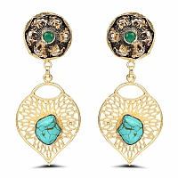 Gold Plated Fashion Dangle Earrings Adorned with Turquoise &