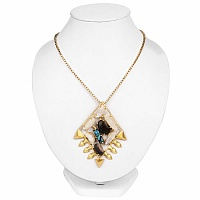 Gold Plated Fashion Designer Pendant Adorned with White Rain