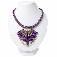 Gold Plated Purple Thread Brass Necklace