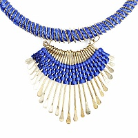 Gold Plated Blue Thread Necklace