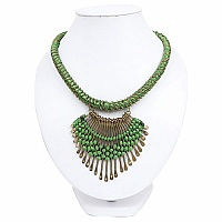 Gold Plated Green Thread Brass Necklace