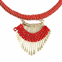 Gold Plated Red Thread Necklace