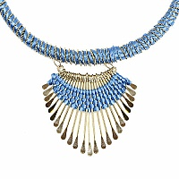 Gold Plated Sky Blue Thread Brass Necklace