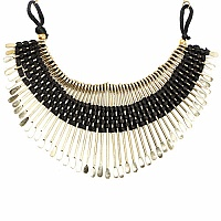 Gold Plated Black Thread Brass Necklace