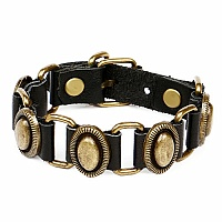 Black PU Leather Bracelet With Metal Ornament For Men