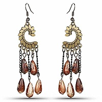 Oxidised Gold Plated Brown Stone Fashion Chandelier Earrings