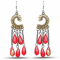Oxidised Gold Plated Red Stone Fashion Chandelier Earrings