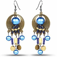 Oxidised Gold Plated Blue Stone Fashion Chandelier Earrings
