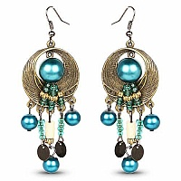 Oxidised Gold Plated Turquoise Stone Fashion Chandelier Earr