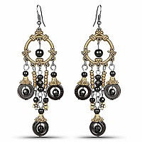 Oxidised Gold Plated Black Stone Fashion Chandelier Earrings