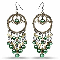 Oxidised Gold Plated Green Stone Fashion Chandelier Hoop Ear