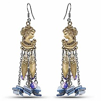 Oxidised Gold Plated Purple Stone Fashion Chandelier Earring