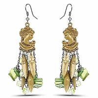 Oxidised Gold Plated Green Stone Fashion Chandelier Earrings
