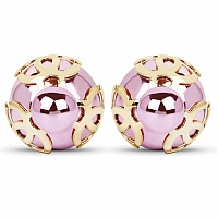 Gold Plated Pink Stone Trendy Stud Earrings