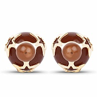 Gold Plated Brown Stone Trendy Stud Earrings