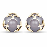 Chrome Plated Grey Stone Trendy Stud Earrings