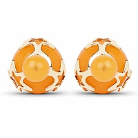 Gold Plated Orange Stone Trendy Stud Earrings