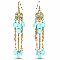 Oxidised Gold Plated Turquoise Fashion Chandelier Earrings