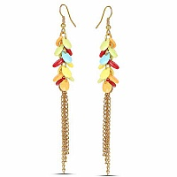 Oxidised Gold Plated Multicolour Fashion Chandelier Earrings