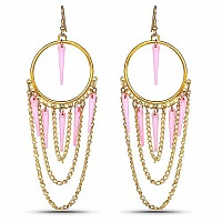 Gold Plated Pink Fashion Chandelier Hoop Earrings