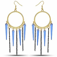 Gold Plated Blue Nail Fashion Chandelier Hoop Earrings