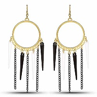 Gold Plated Black Nail Fashion Chandelier Hoop Earrings