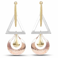 Two Tone Plated Contemporary Fusion Dangle Earrings