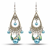 Oxidised Gold Plated Multi Stone Fashion Chandelier Hoop Ear