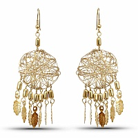 Contemporary Gold Colored Alloy Hoop Chandelier Earring for