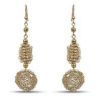 Contemporary Gold Colored Alloy Hoop Dangle Earring for Wome