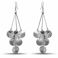 Beautiful Silver Colour Shell Shapedd Dangle Earrings For Wo