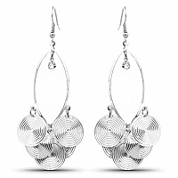 Silver Plated Spiral Shaped Chandelier Earrings