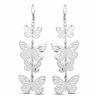 Silver Plated Butter Fly Shapedd Chandelier Earrings