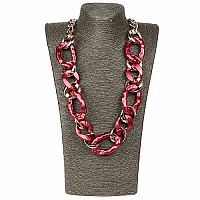 Gold Plated Maroon Opera Length Link Style Fashion Necklace