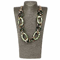 Gold Plated Green Opera Length Link Style Fashion Necklace