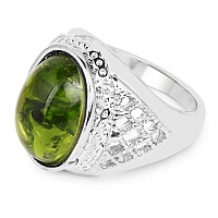 Chrome Plated Fashion Statement Designer Green Amber Studded